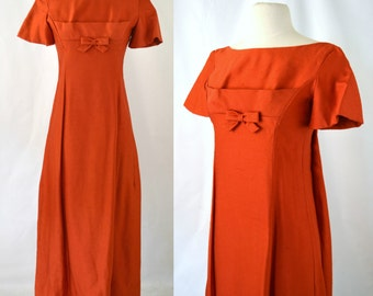 1960s Burnt Orange Maxi Dress by Lorrie Deb, Bridesmaid, Prom Dress