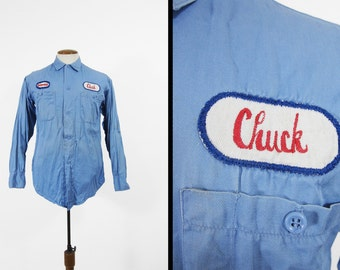 Vintage 70s Chuck Mechanic Work Shirt Blue Cotton Twill Sohio Button Up - Size Small