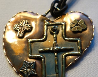 Copper Heart with cross gorgeous and big....