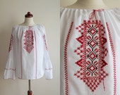 Vintage Romanian Peasant Blouse - 1970's  Embroidered Blouse  - Size M
