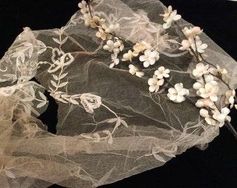 Vintage Cotton Netted Tape  Lace Piece, Antique Lace, Vintage Bridal Lace, Vintage Wedding Lace