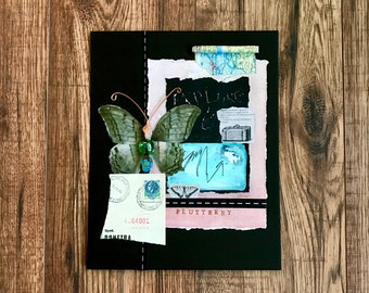 Flutterby, Butterfly, Collage, Collage Art, Explore, Original Art