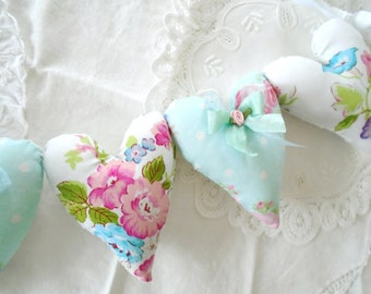 Pillow Heart Flower Garland / Pink Flowers / Shabby Cottage Decor / String Hearts / Aqua Blue / Sweet Home / Heart Garland / Heart Banner