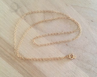 """14/20 Gold filled, 16""""  flat cable chain with spring ring, cable chain, Finished gold necklace chain, gold filled cable chain"""