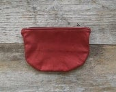 Cherry Red Leather Zippered Pouch - Repurposed Leather