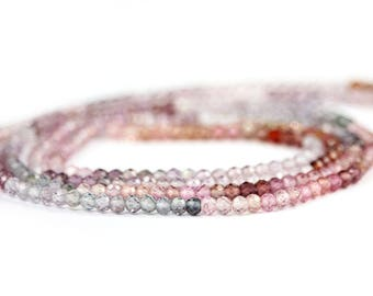 Spinel Micro Faceted Round Beads Half Strand Multi Color Purple Red Pink Salmon Blue Semi Precious Gemstones