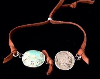 Handmade Jewelry, Southwestern, One of a Kind, Cumpas Mine Turquoise, Vintage Indian Head Nickel, Saddle Leather Slide Bracelet