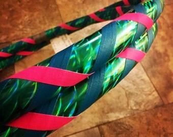 Mermaid Hula Hoop - Infinity Collapsible Travel Hoop for Dance Fitness Fun - Teal Pink 100 or 125 PSI - Begginner Intermediate Kid Adult