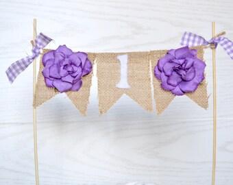 Cake Topper - Purple Cake banner - Flower Birthday - Cake Bunting - One Birthday Banner - Purple First Birthday - First Birthday Cake Topper