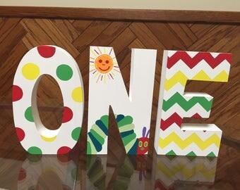 Caterpillar - Red - Yellow - Green - Photo Prop - first Birthday - 1st birthday - wooden - freestanding