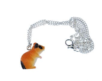 Hamster Necklace Miniblings 45cm Hamster 3D beige mottled with black eyes