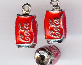 Hollow Red COLA CAN Charm. Silver Plated Enamel. 3D Coke. Soda. Pop. ONE Charm only!