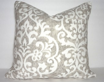Jennifer Adams Salisbury Taupe & Cream Floral Print Pillow Covers Decorative Throw Pillow Covers Taupe Flower 18x18