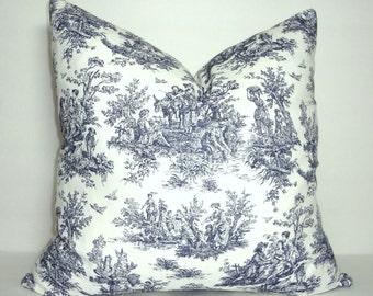 Navy & White Toile Pillow Covers Baby Girl Boy Nursery Throw Pillows Decorative Blue Jamestown Toile Print
