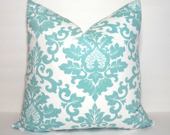 Decorative Pillow Canal Blue and White Damask Floral Pillow Covers Cecilia Premier Prints All Sizes