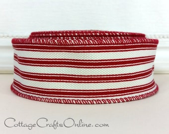"""Wired Ribbon, 1 1/2"""" wide, Red and Ivory Cotton Ticking Stripe - TEN YARD ROLL -  """"Ticking"""", Valentine, Christmas Wire Edged Ribbon"""