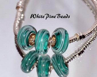 Turquoise Aqua Blue  Handmade Murano Glass Bead Fits European Style Charm Bracelets