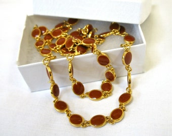 signed GOLDETTE Long Necklace, 1960's, Reddish Brown Flat Beads, Double Choker, Gold Tone, Designer, Gift Idea, Excellent