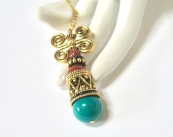 """1970's Egyptian Style Pendant Necklace, Dangle Pendant, Turquoise Glass Bead, Gold Tone Swirls, 18"""", Summer Casual, Gift Idea, Excellent"""