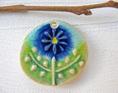 Blue Flower Pendant Stoneware Clay