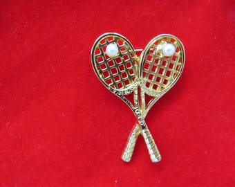 Vintage Tennis Rackets Brooch Pin - Womens Jewelry Accessories - Scatter Pin - Tennis Player - Collectible - Gift - Mothers Day Gift