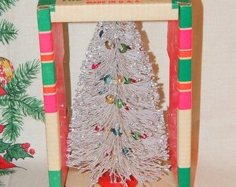 Vintage St. Nick Tree Vintage Christmas Kitsch White Silver Bottle Brush Flocked Mercury Bulbs Original Box