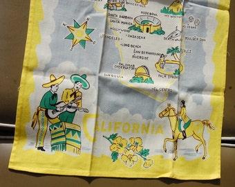 California Souvenir State Map 1950's Vintage Tea Towel Kitchen Kitsch