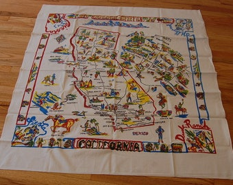 Huge State Of California Souvenir Tourist Travel Tablecloth Vintage Retro 50's Linen Vibrant Old Hollywod Sights Amazing 52x58