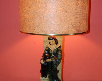 Continental Art Co Figural Oriental Lady Panther Chalkware Lamp Vintage 1950's Dated 1950 Mid Century Modern Kitsch