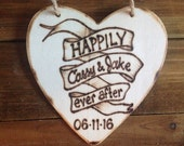 Tattoo Art Ornament Wedding Gift Happily Ever After Christmas Holiday Bride & Groom Banner Personalized
