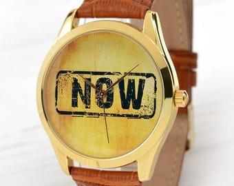 NOW Watch (Brown) | Wrist Watch That Says NOW | Girlfriend Gift | Grunge Style Watches | Boyfriend Gift | Best Friend Gifts | Free Shipping