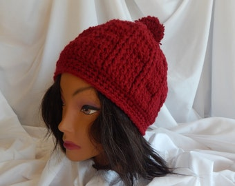 Crochet Pom Pom Hat Beanie - Burgundy Wine - Woman's Fashion Hat
