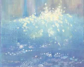"""Small Oil Painting  """"Waves Against the Harbour Wall""""""""  Impressionist Art.  8"""" x 8"""". Seascape Canvas."""