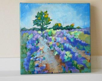 "Small Oil Painting on Canvas  ""Lavender Fields""  Impressionist Art.  8"" x 8"". Landscape Art."