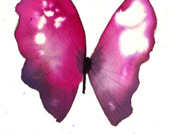 magenta purple pink white gold butterfly original watercolour painting 7 x 5""