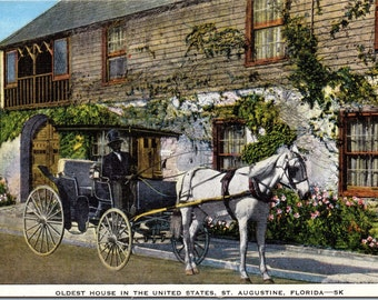 St. Augustine, Florida, Oldest House in the United States - Linen Postcard - Postcard - Unused (C1)