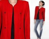 ON SALE Vintage 80s 90s Red Open Jacket Blazer
