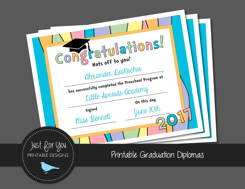 pastel rainbow graduation certificate diploma kindergarten