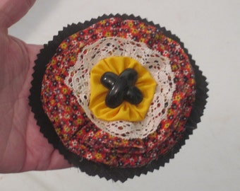 Calico textile flower pin/brooch  Black X button