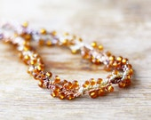 Brown necklace Crochet beaded jewelry Gift for her For mother Summer Fall Autumn Twisted necklace Handcrafted yarn jewelry amber topaz