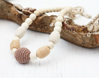 Crochet wood nursing necklace Natural neutral jewelry for breastfeeding and babywearing moms Baby shower gift Chunky beaded necklace