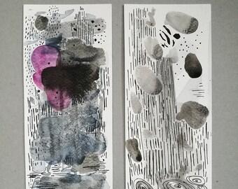 Painting set. Abstract Wall Art Set. Original abstract painting. Original art. Ink painting. Original abstract art. Original ink drawing.