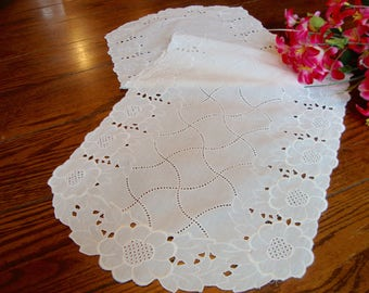 White Table Runner White Floral Embroidery Vintage Lace Dresser Scarf Table Linens