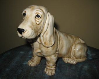 Dog Figurine Light Brown and White