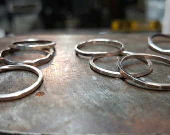 3 Square Wire Sterling Stacking Rings