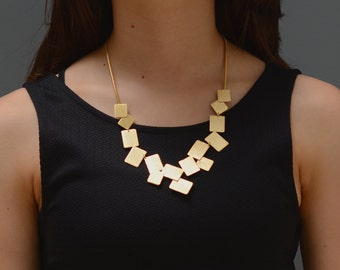 statement gold necklace, unique gold necklace, gold bib necklace, large bib necklace, modern gold necklace gold necklace, geometric necklace
