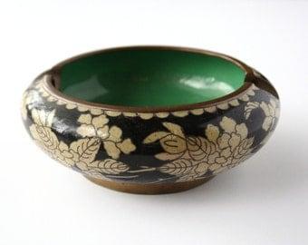 Vintage cloisonne ashtray, black cloisonne, enamel ashtray, Asian decor