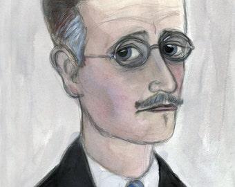 James Joyce Art Print (6x8) Irish Novelist Literary Portrait, Library Decor