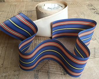 Vintage Rayon Striped Ribbon in Blue, Black, Orange & Yellow. Extra Wide (length 1m or 1.09 yards)