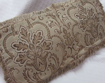 Fringed Pillow browns/beige and cream Pillow Cover damask  design fabric
